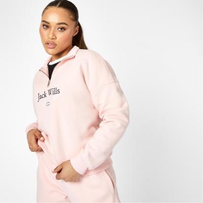 Bluza de trening Jack Wills Honeylane fermoar soft roz