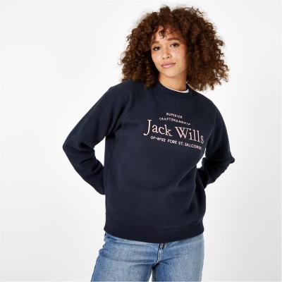 Bluza de trening Jack Wills Hunston imprimeu Graphic cu guler rotund bleumarin