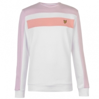 Bluza de trening Lyle and Scott Colour Block alb