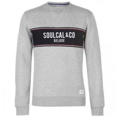 Bluza de trening SoulCal Deluxe Panel cu guler rotund gri marl