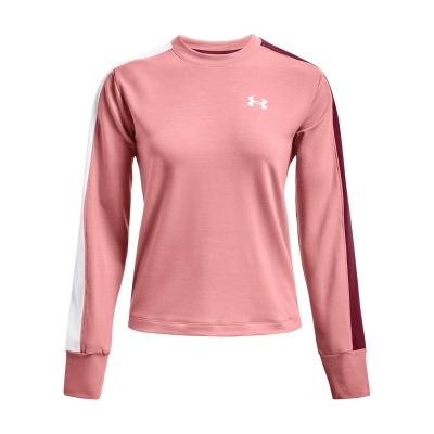Bluza de trening Under Armour Rival Terry Colourblock cu guler rotund pentru Femei roz multicolor