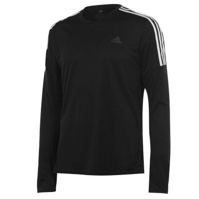 Bluza maneca lunga adidas 3 cu dungi pentru Barbati negru alb