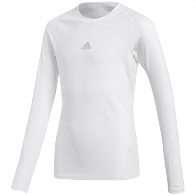 Bluza maneca lunga Adidas Alphaskin Sport alb CW7325 pentru copii