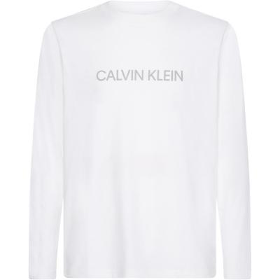 Bluza maneca lunga Calvin Klein Performance Essential Logo alb