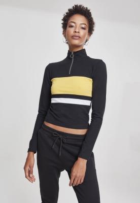 Bluza maneca lunga cu fermoar trei culori pentru Femei negru-galben Urban Classics alb