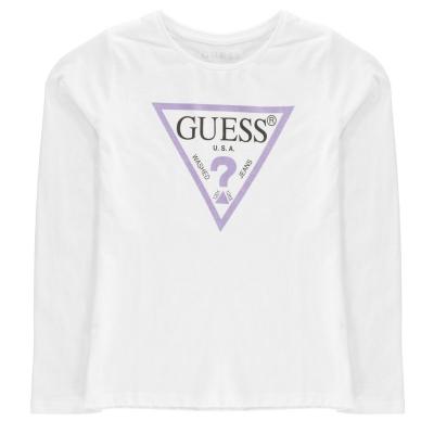 Tricou cu imprimeu Guess Sleeve alb lt roz