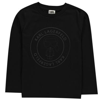 Bluza maneca lunga KARL LAGERFELD Bad pentru baietei baiat negru 09b