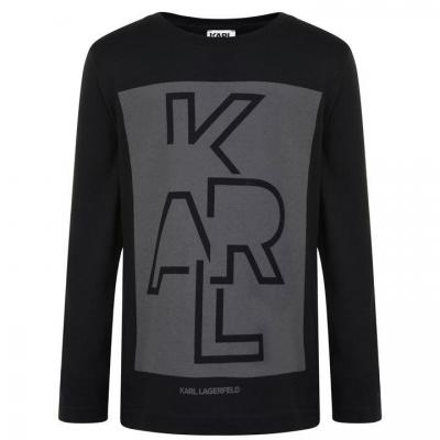 Bluza maneca lunga Karl Lagerfeld Skool pentru baieti pentru Copii negru