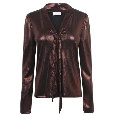 Bluza cu maneca lunga Vila Vikatty negru maro foil