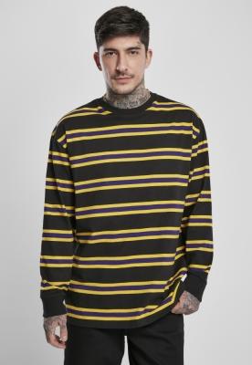 Bluza maneca lunga Yarn Dye negru-galben Urban Classics