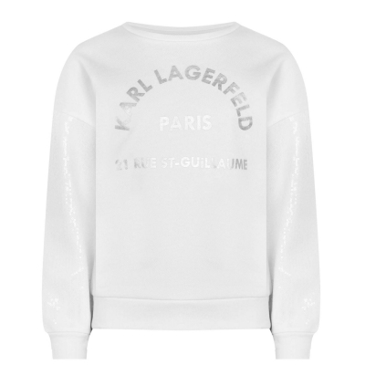 Bluza de trening KARL LAGERFELD Shimmer Sleeve pentru fetite alb 10b