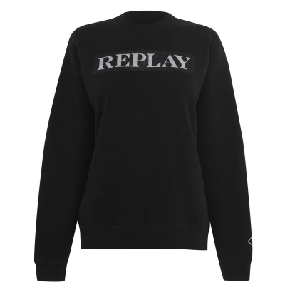 Bluza de trening Replay Glitter Box off negru