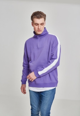 Bluza sport supradimensionata cu dungi la umar violet-alb Urban Classics
