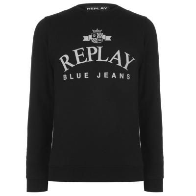 Bluze cu guler rotund Blugi Replay negru