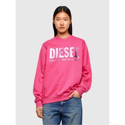 Bluze cu guler rotund Diesel Logo roz 3bg