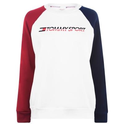 Bluze cu guler rotund Tommy Sport Colour Block pvh alb