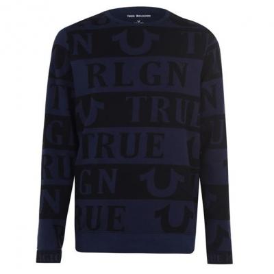 Bluze cu guler rotund True Religion AOP bleumarin negru