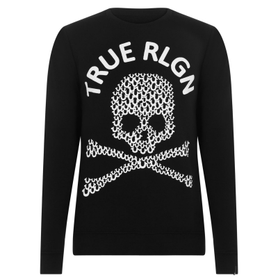 Bluze cu guler rotund True Religion Skull negru