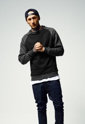 Bluze cu guler round doua culori negru-gri Urban Classics carbune