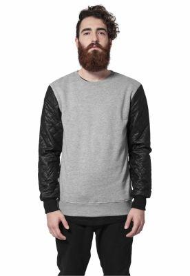 Bluze cu maneci piele ecologica gri-negru Urban Classics