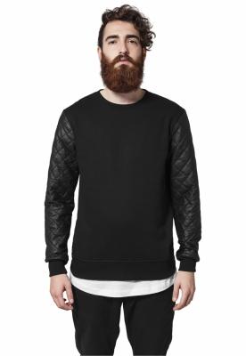 Bluze cu maneci piele ecologica negru-negru Urban Classics