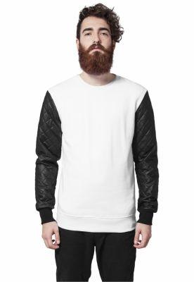 Bluze cu maneci piele ecologica alb-negru Urban Classics