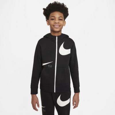 Bluze Hanorac Nike Sportswear Swoosh Big () Full-cu fermoar pentru baieti pentru Copii negru alb