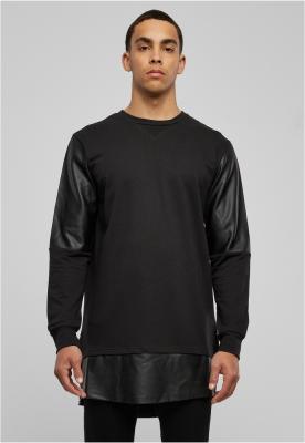 Bluze lungi piele ecologica negru-negru Urban Classics