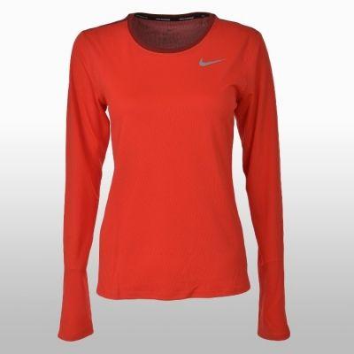 Bluza alergare portocalie cu maneca lunga Nike Breathe Running Femei