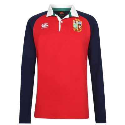 Bluze rugby Canterbury British and Irish Lions cu Maneca Lunga pentru Barbati rosu bleumarin