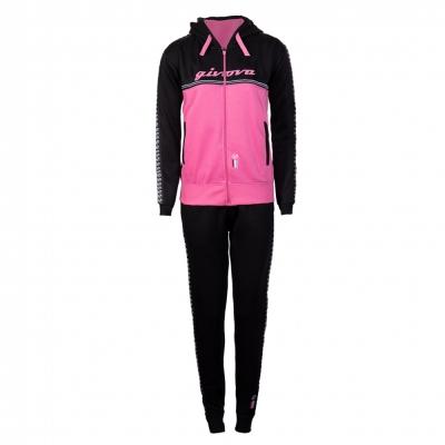 Bluze Trening sport TUTA DONNA 101 CON BANDA E CAPPUCCIO IN Givova negru roz fucsia