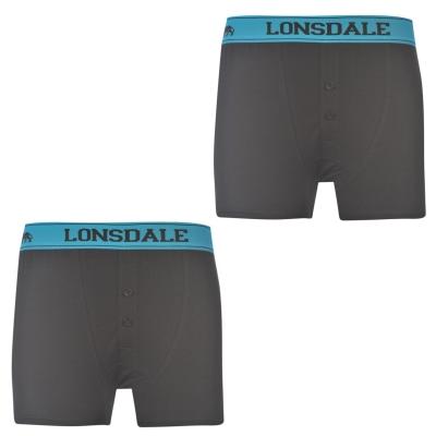 Boxeri Set 2 Lonsdale pentru copii negru brt albastru
