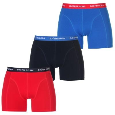 Boxeri Set de 3 Bjorn Borg contrast bleumarin rosu albastru