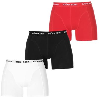 Boxeri Set de 3 Bjorn Borg Solid negru alb rosu