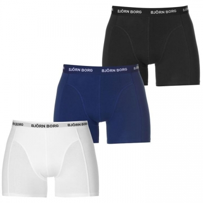 Boxeri Set de 3 Bjorn Borg Solid negru alb bleumarin