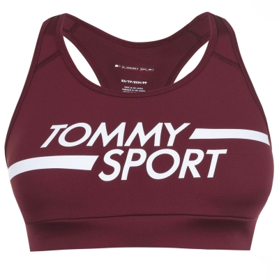 Bustiera cu logo Tommy Sport deep rosu