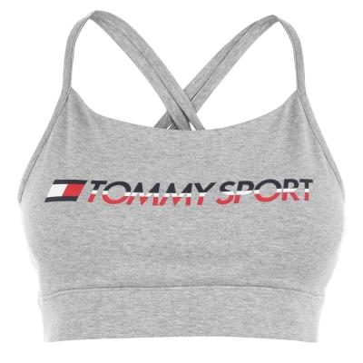 Bustiera cu logo Tommy Sport Tommy Hilfiger Sport gri deschis
