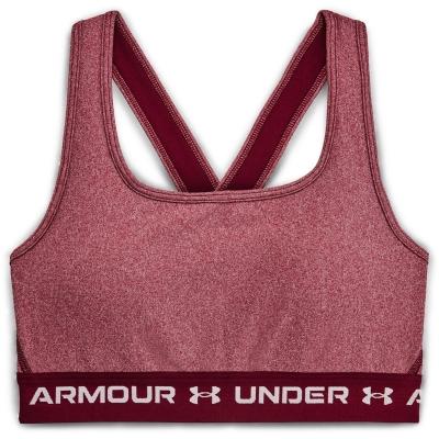 Bustiera in X Under Armour Mid pentru Femei league rosu deschis