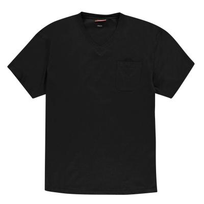 Tricou Pierre Cardin marimi mari cu decolteu in V pentru Barbati negru
