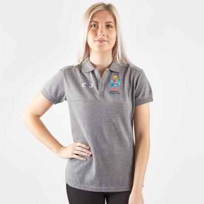 Tricouri Polo C2C Netball WC 2019 Fitted pentru femei gri