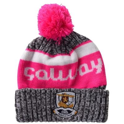Caciula Beanie Official Galway GAA pentru Femei gri alb roz