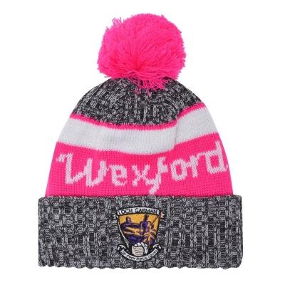 Caciula Beanie Official Wexford GAA pentru Femei gri roz alb