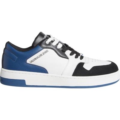 Adidasi sport Calvin Klein Jeans baschet Lace alb albastru
