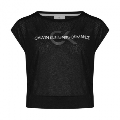 Tricou Calvin Klein Performance Cropped Relaxed ck negru
