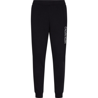 Pantaloni jogging Calvin Klein Performance Essential Logo negru acid verde lime