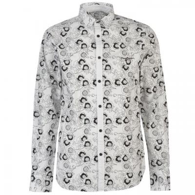 Camasa cu Maneca Lunga Pierre Cardin Floral Print pentru Barbati alb negru rosu