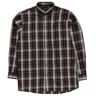 Fusion Plaid Button Down Shirt pentru Barbati rosu burgundy