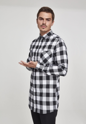 Camasa lunga barbati negru-alb Urban Classics