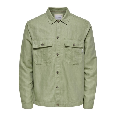 Camasa Only and Sons Linen oil verde