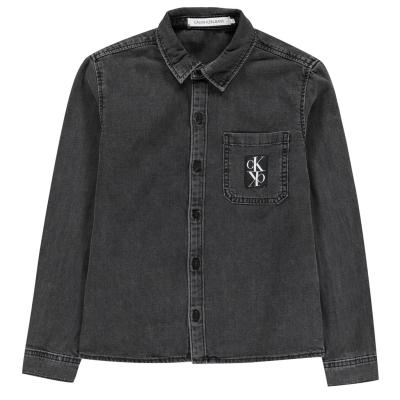 Camasi cu maneca lunga Calvin Klein Calvin Rigid gri negru